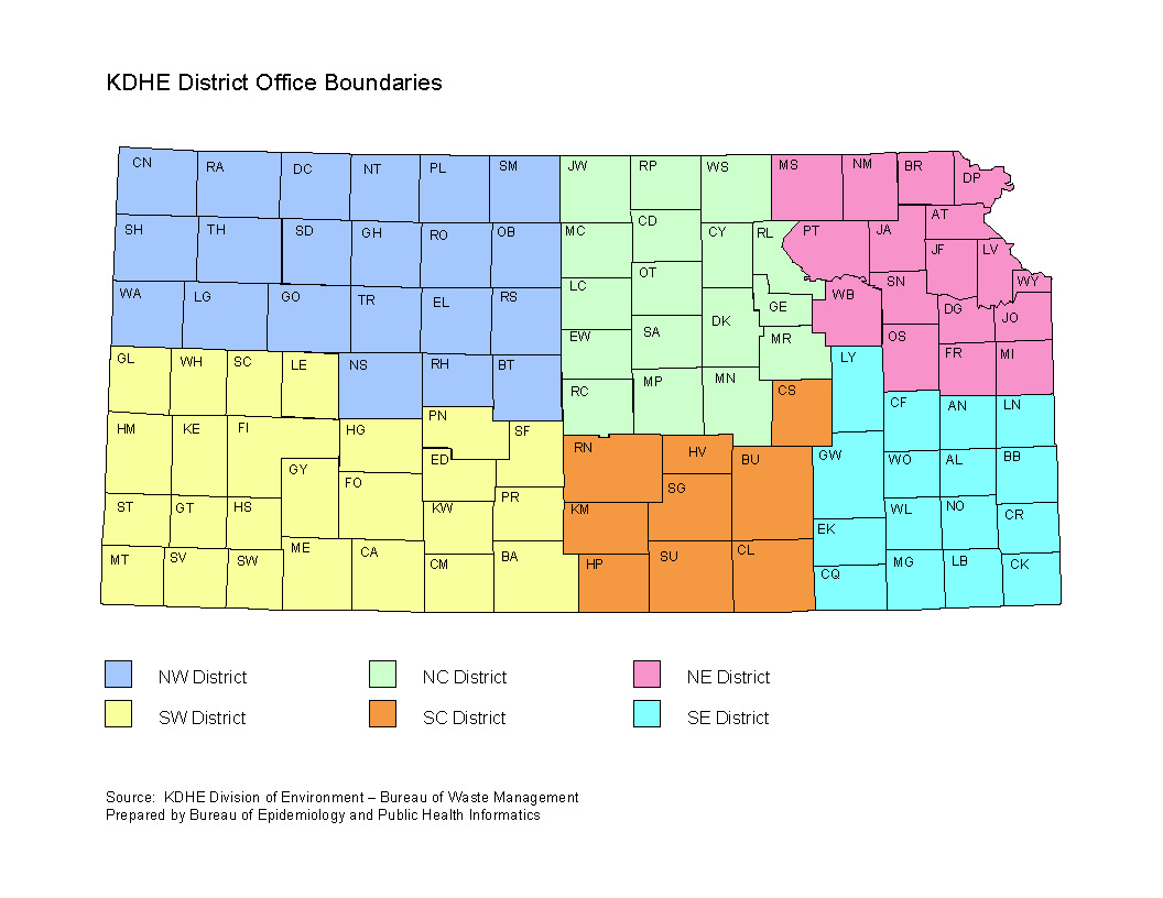 KDHE District Office Boundaries Map